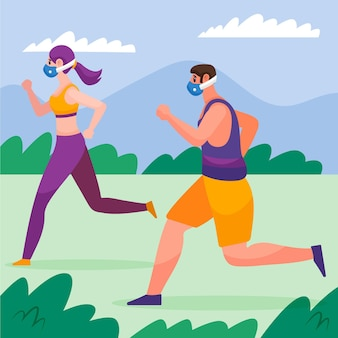 Les gens qui courent dans le parc portant des masques médicaux