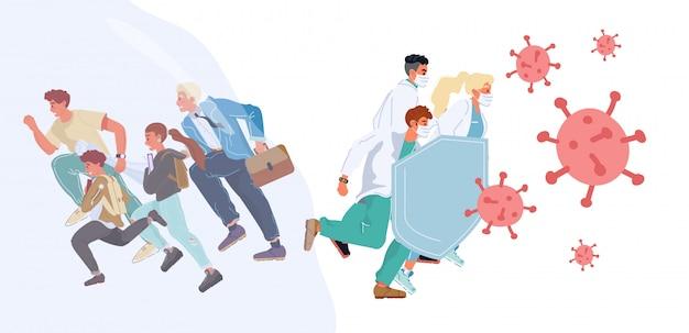 Les gens qui courent pourchassés par un médecin antivirus protègent