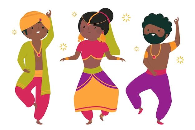 Les gens qui dansent le concept d'illustration de bollywood