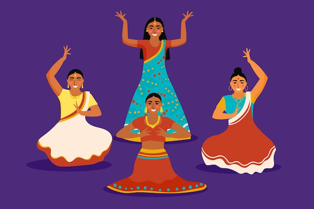 Gens qui dansent la conception d'illustration de bollywood