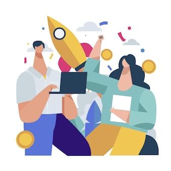 Les gens qui démarrent ensemble un projet d'entreprise