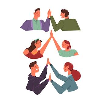 Les gens qui donnent un high five illustré