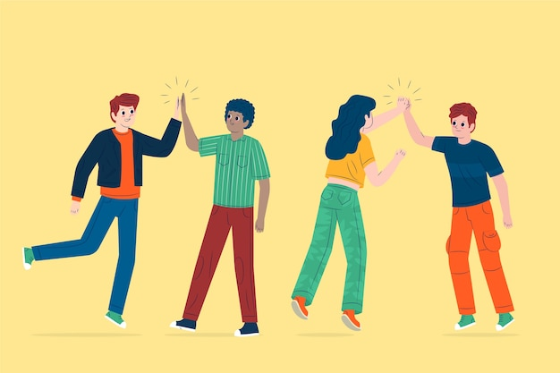 Les gens qui donnent un high five