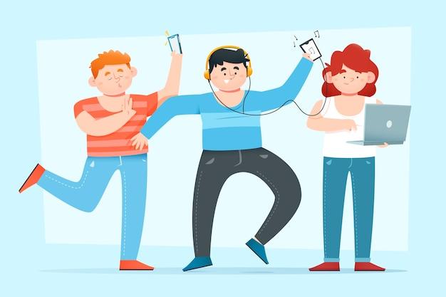Les gens qui écoutent de la musique avec des écouteurs
