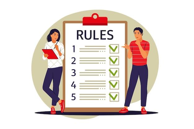 Les gens qui étudient la liste des règles. faire une liste de contrôle. guide de lecture. illustration vectorielle. appartement.
