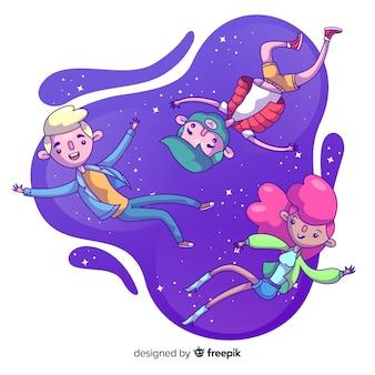 Les gens qui flottent dans l'air