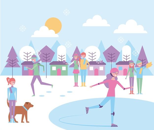 Les gens qui font des activités différentes dans le paysage d'hiver