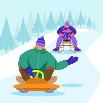 Les gens qui font des activités d'hiver à l'extérieur
