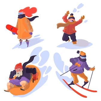 Les gens qui font des activités d'hiver en plein air
