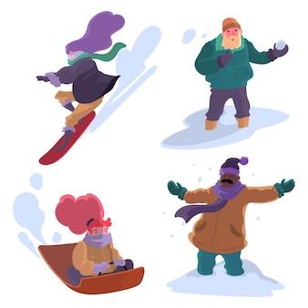 Les gens qui font des activités d'hiver