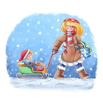 Les gens qui font des activités hivernales en plein air