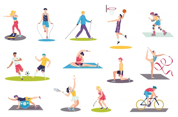 Gens qui font des exercices de sport illustration ensemble, dessin animé homme femme sportsman caractères formation, activité sportive sur blanc