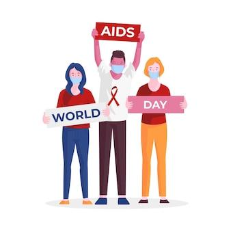 Les gens qui font preuve de sensibilisation pendant la journée du sida