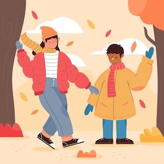 Gens qui marchent en automne illustration