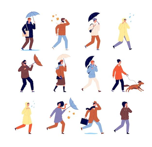 Les gens qui marchent en automne. personnages élégants, personnes décontractées avec parapluie. activité de plein air, marche par temps de pluie. ensemble de vecteurs d'homme urbain isolé. personnage avec illustration extérieure de marche de parapluie