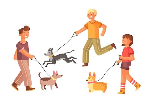 Les gens qui marchent le concept de chien