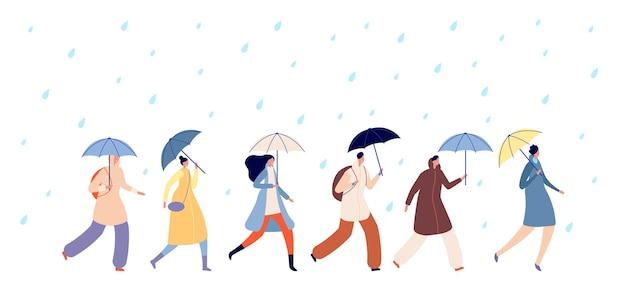 Les gens qui marchent par temps de pluie. adulte avec parapluie, homme fille marche sous la pluie. gouttes d'eau de saison d'automne, personne adulte va dans le vecteur de tempête. saison pluie automne, personnes avec parapluie allant illustration