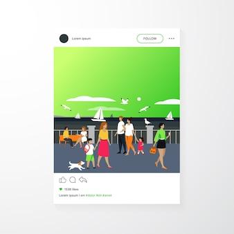 Les gens qui marchent sur le quai du bord de mer. personnages touristiques un joli couple avec des enfants admirant des bateaux en mer et des mouettes