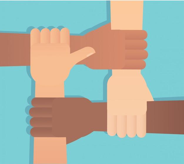 Les gens qui mettent leurs mains ensemble