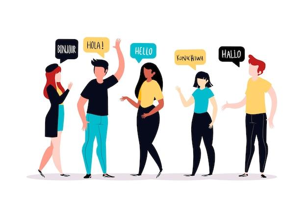 Des gens qui parlent dans différentes langues