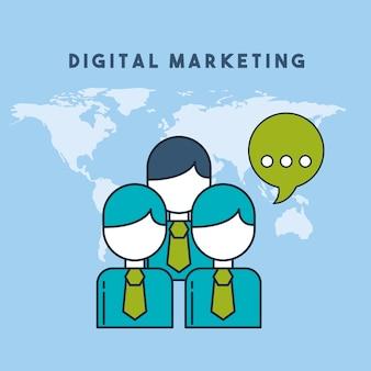 Gens qui parlent illustration vectorielle de monde marketing numérique