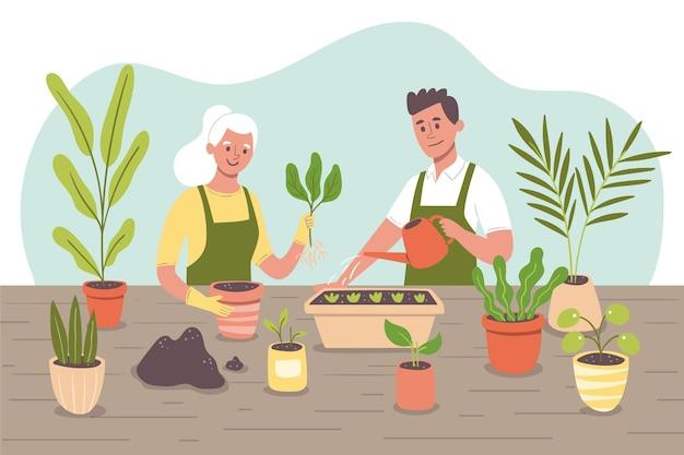 Les gens qui prennent soin des plantes ensemble