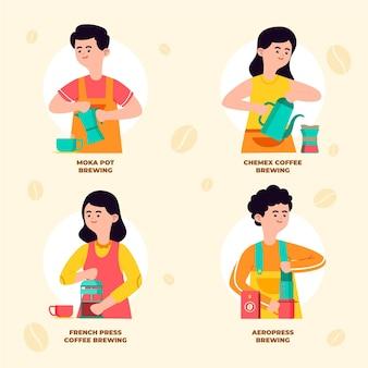 Les gens qui préparent différentes méthodes de café