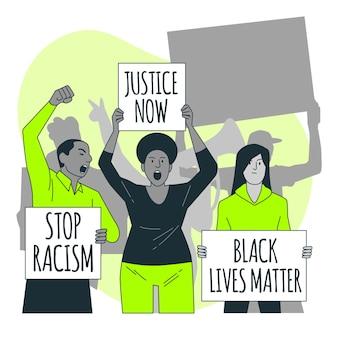 Les gens qui protestaient contre le racisme concept illustration
