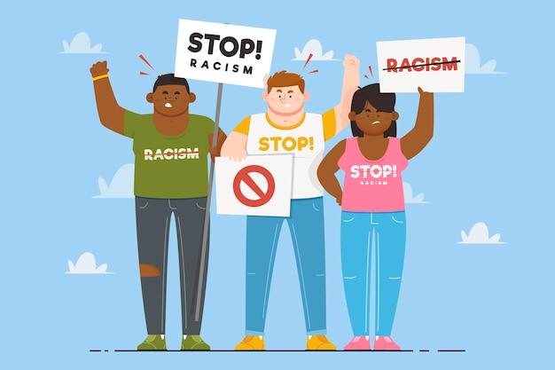 Les gens qui protestaient avec différentes pancartes