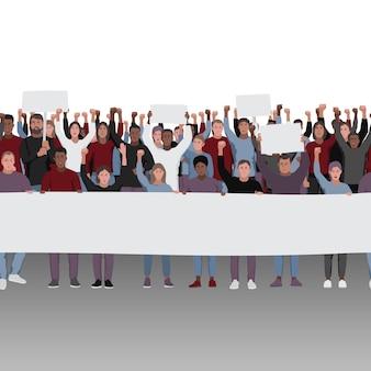 Les gens qui protestent avec les poings levés et la frontière transparente des bannières