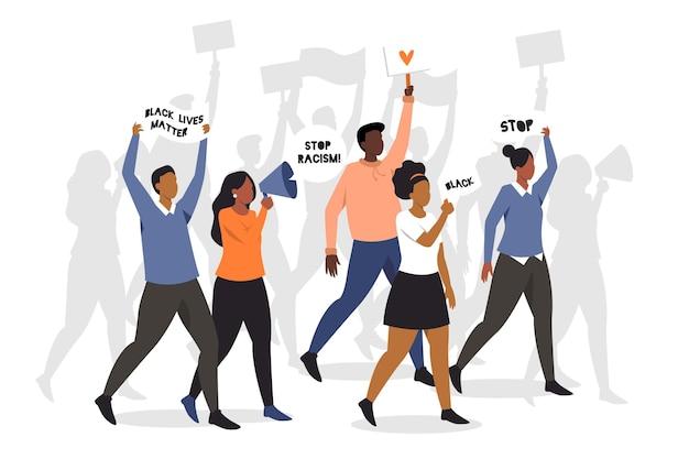 Les gens qui protestent pour le mouvement de la vie noire comptent