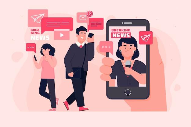 Les gens qui regardent les dernières nouvelles au téléphone