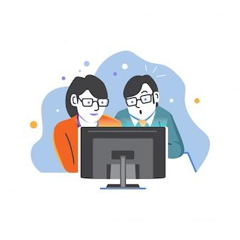 Gens qui regardent les nouvelles sur vector illustration internet
