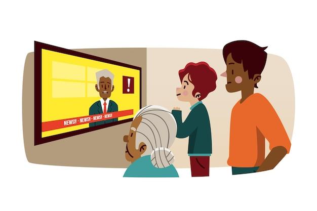 Les gens qui regardent le reportage à la télévision