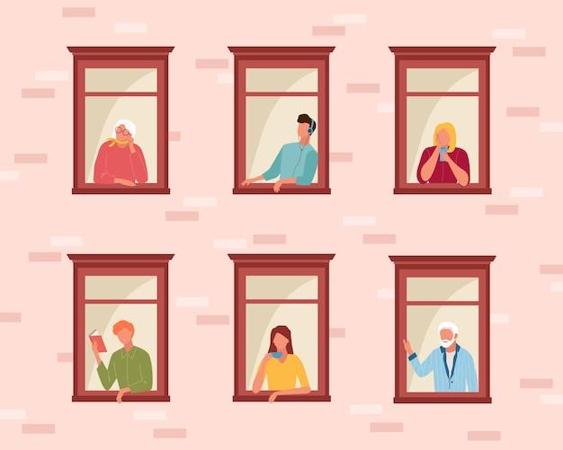 Les gens qui s'isolent eux-mêmes restent à la maison. les gens de la vie en quarantaine à travers les fenêtres ouvertes mec écoute la musique lit le livre fille boit le café parle téléphone, les personnes âgées regardent à l'extérieur.