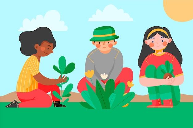 Les gens qui s'occupent des plantes à l'extérieur