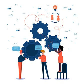 Les gens qui travaillent en équipe créent une solution
