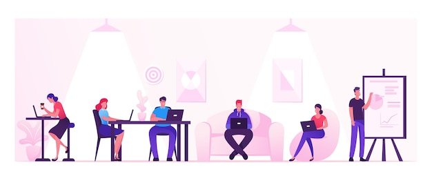 Les gens qui travaillent se détendre en buvant du café et des messages avec des gadgets dans la zone de coworking ou le bureau créatif. illustration plate de dessin animé