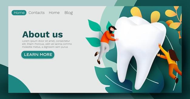 Les gens qui volent autour de la clinique dentaire de grandes dents soins des dents page web présentation de la bannière enquête en ligne avec des personnages