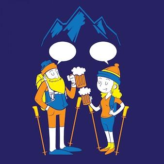 Les gens en randonnée et boire de la bière