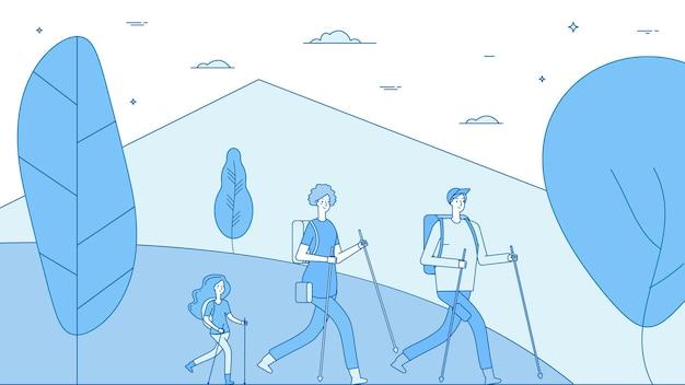 Les gens de randonnée. randonneurs en famille, fille de parents marchant sur la nature.