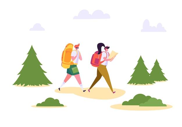 Gens randonnée sac à dos forêt nature paysage.