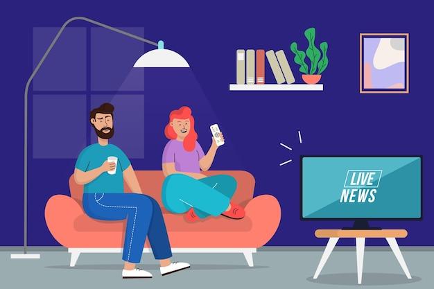 Les gens regardent ensemble les nouvelles