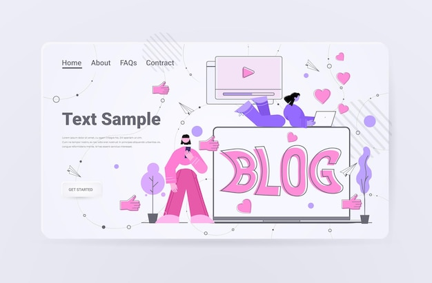 Les gens regardent la page de destination du marketing de contenu de blog vidéo en ligne