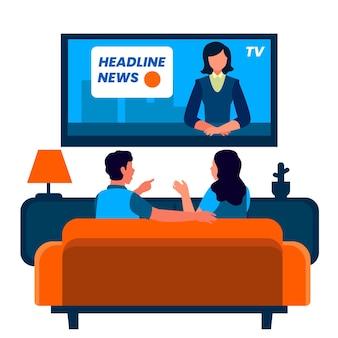 Les gens regardent le reportage à la maison