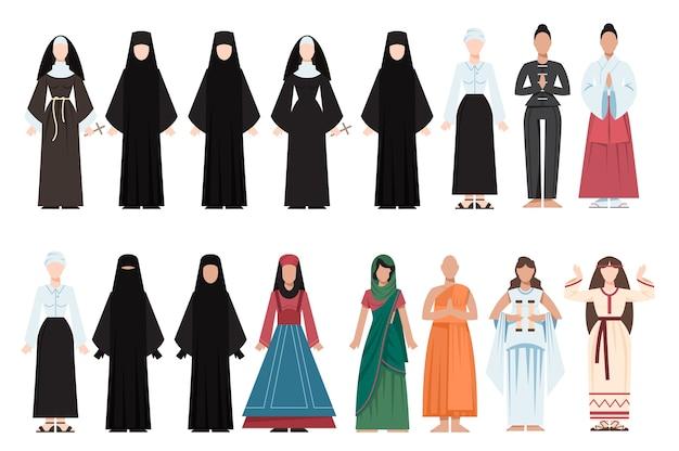 Les gens de religion portant des uniformes spécifiques. collection de figures religieuses féminines. moine bouddhiste, prêtres chrétiens, rabbin judaïsme, mollah musulman.