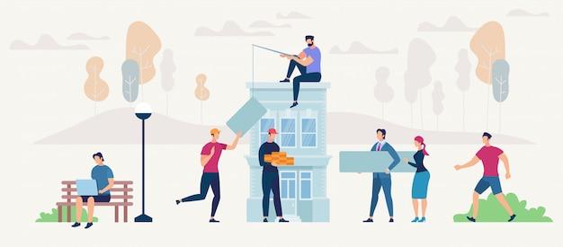 Gens de réseautage et nouveau concept de maison.
