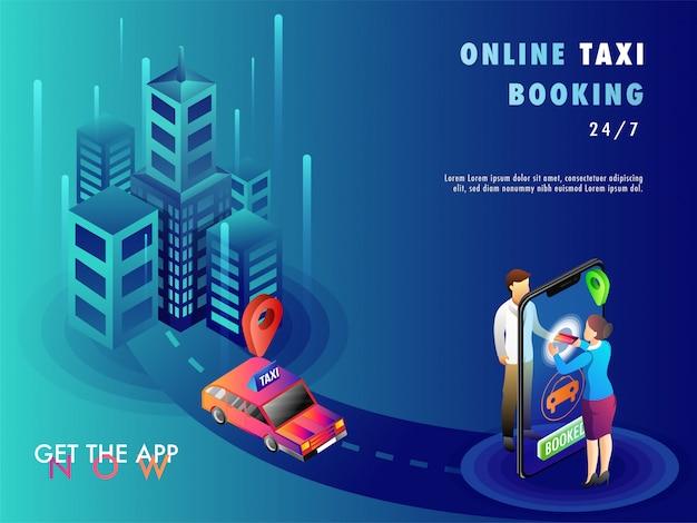 Les gens réservant un taxi en utilisant l'application mobile.