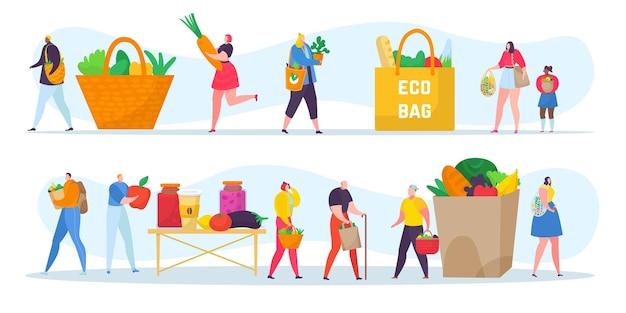 Les gens respectueux de l'écologie définissent l'illustration vectorielle de concept plat petit homme femme caractère shopping utiliser e...