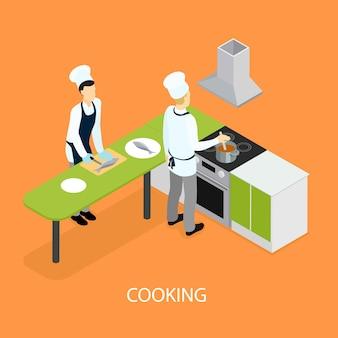 Gens de restaurant isométrique cuisinant